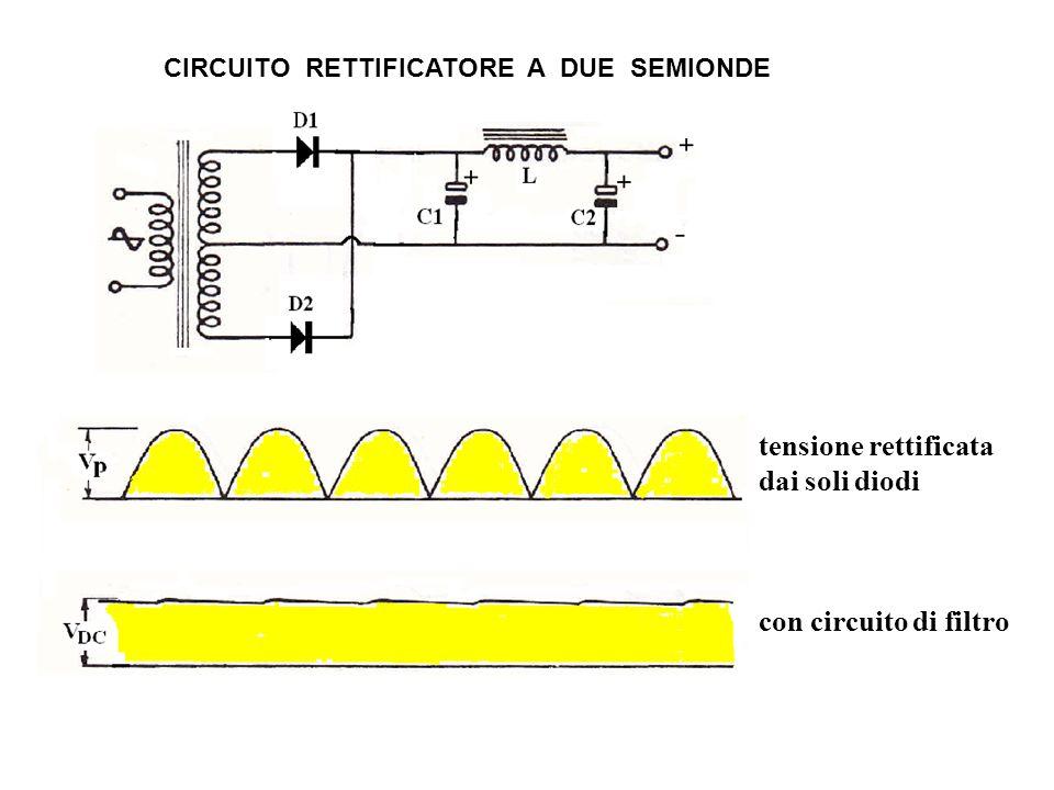 tensione rettificata dai soli diodi con circuito di filtro