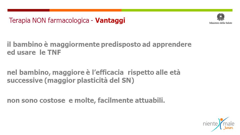 Terapia NON farmacologica - Vantaggi