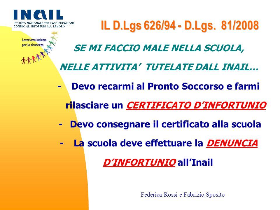 IL D.Lgs 626/94 - D.Lgs. 81/2008 SE MI FACCIO MALE NELLA SCUOLA,