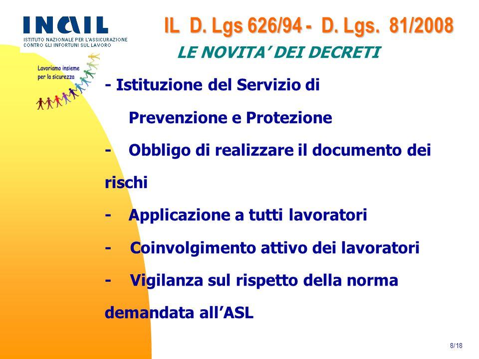 IL D. Lgs 626/94 - D. Lgs. 81/2008 LE NOVITA' DEI DECRETI