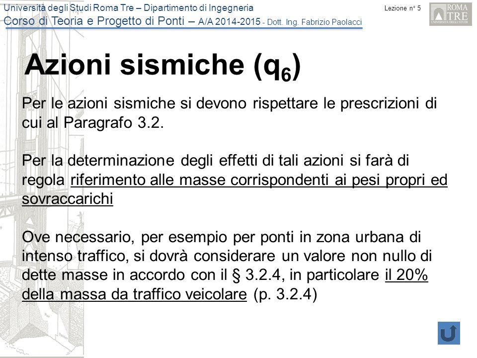 Azioni sismiche (q6) Per le azioni sismiche si devono rispettare le prescrizioni di cui al Paragrafo 3.2.