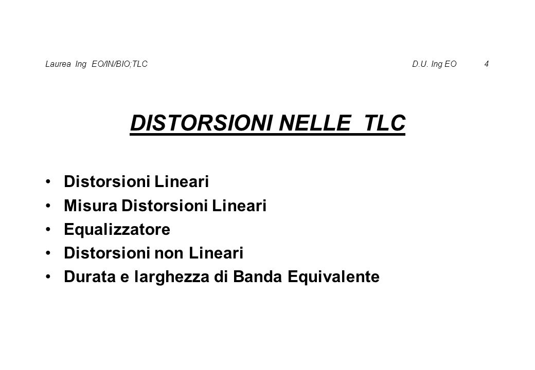 Laurea Ing EO/IN/BIO;TLC D.U. Ing EO 4