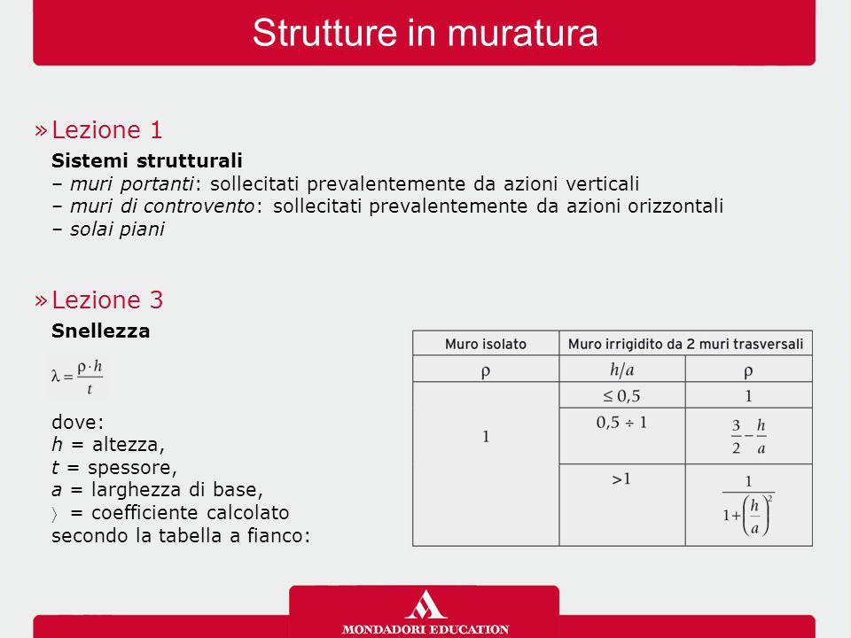 Strutture in muratura Lezione 1 Lezione 3 Sistemi strutturali