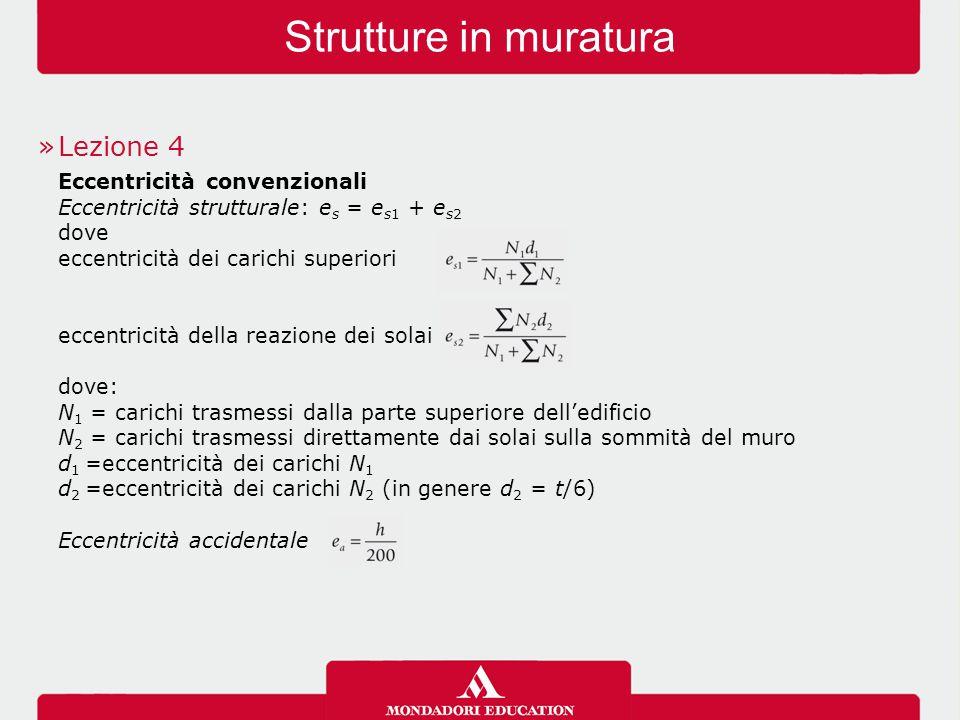 Strutture in muratura Lezione 4 Eccentricità convenzionali