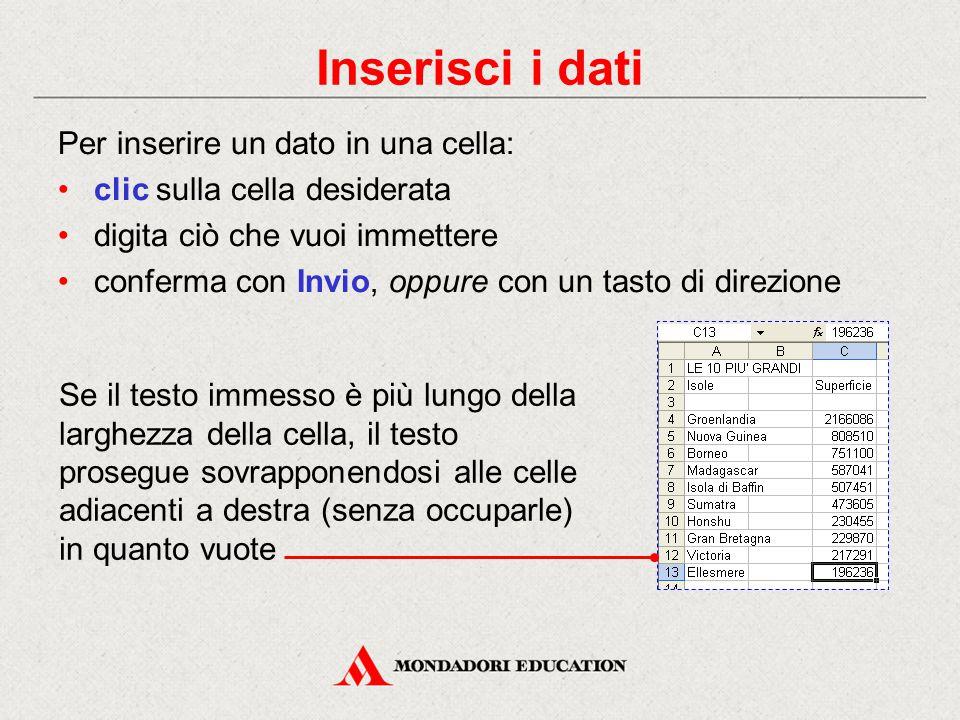 Inserisci i dati Per inserire un dato in una cella:
