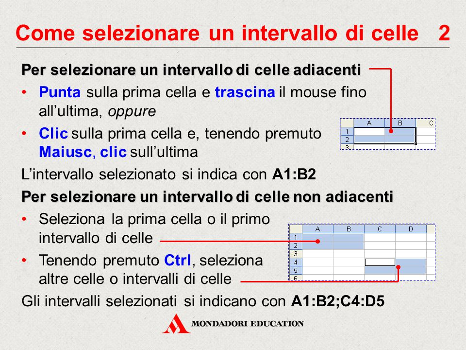 Come selezionare un intervallo di celle 2