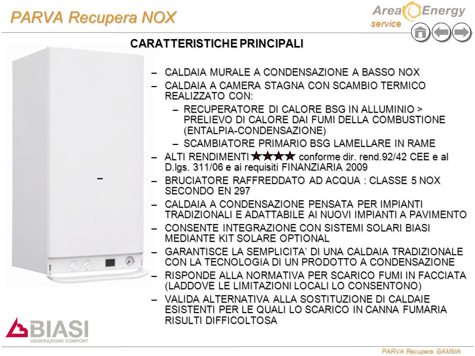 PARVA Recupera NOX CARATTERISTICHE PRINCIPALI