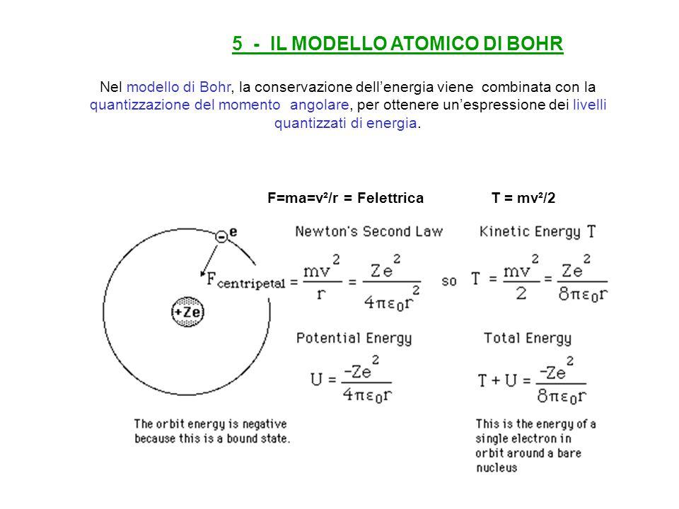 5 - IL MODELLO ATOMICO DI BOHR