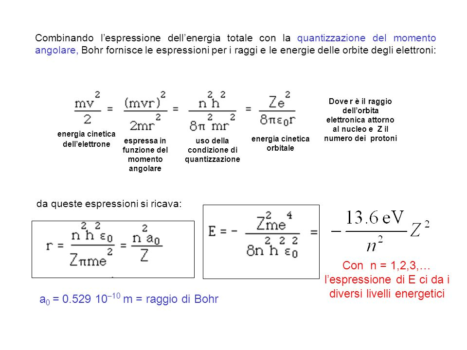 Con n = 1,2,3,… l'espressione di E ci da i diversi livelli energetici
