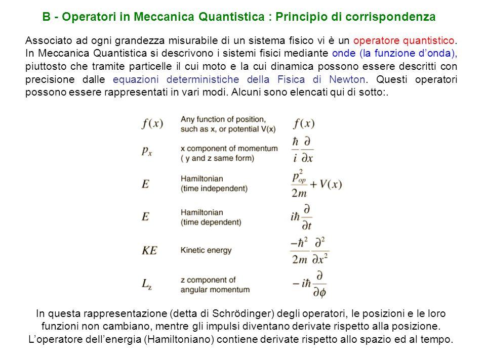 B - Operatori in Meccanica Quantistica : Principio di corrispondenza