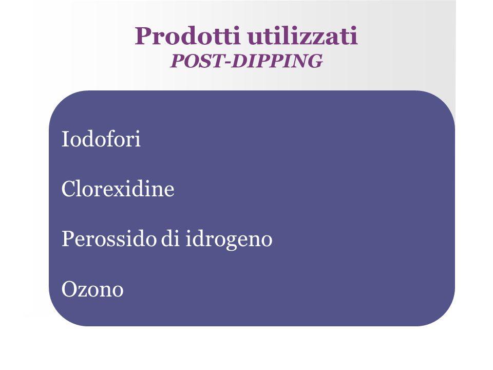 Prodotti utilizzati Iodofori Clorexidine Perossido di idrogeno Ozono