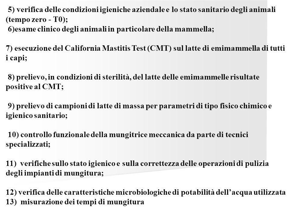 5) verifica delle condizioni igieniche aziendale e lo stato sanitario degli animali (tempo zero - T0);