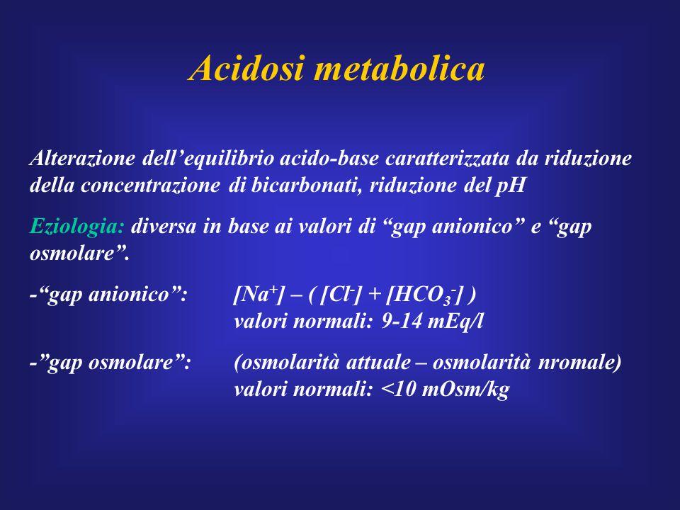 Acidosi metabolica Alterazione dell'equilibrio acido-base caratterizzata da riduzione della concentrazione di bicarbonati, riduzione del pH.