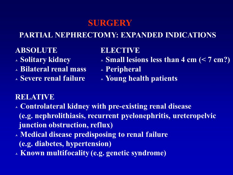 SURGERY PARTIAL NEPHRECTOMY: EXPANDED INDICATIONS ABSOLUTE