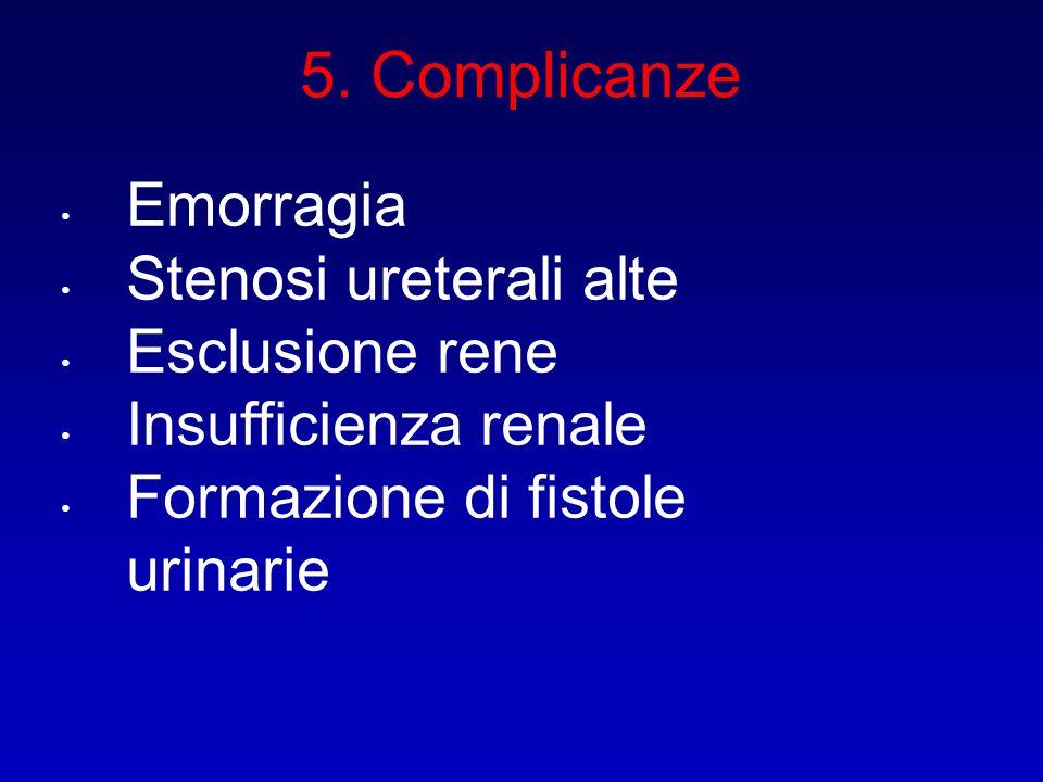 5. Complicanze Emorragia Stenosi ureterali alte Esclusione rene