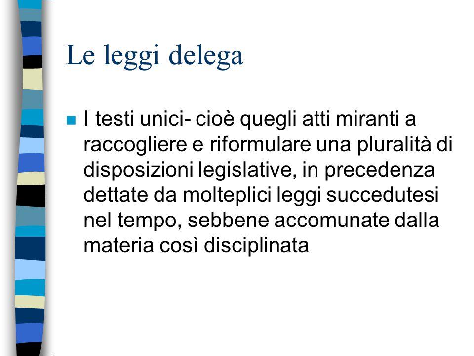 Le leggi delega