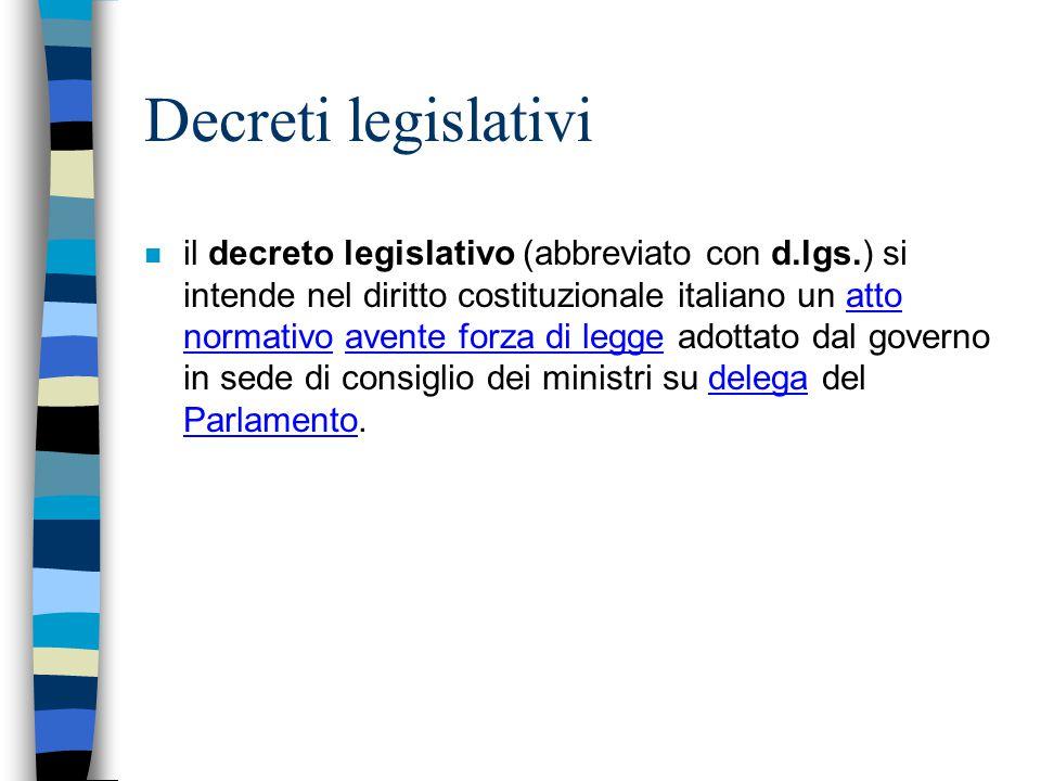 Decreti legislativi