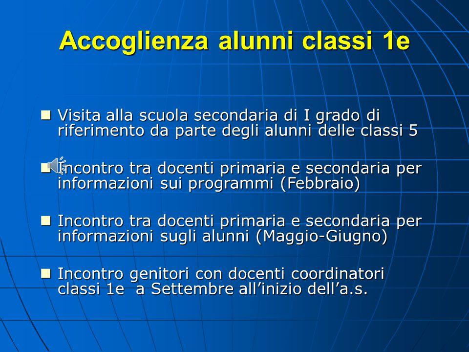 Accoglienza alunni classi 1e