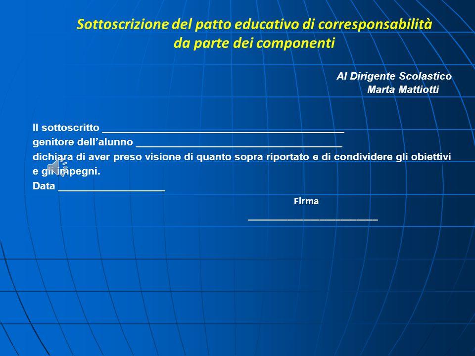 Sottoscrizione del patto educativo di corresponsabilità