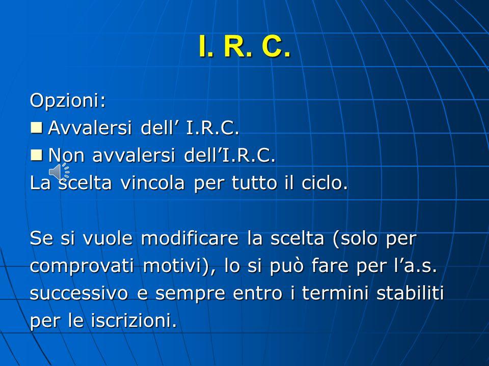 I. R. C. Opzioni: Avvalersi dell' I.R.C. Non avvalersi dell'I.R.C.