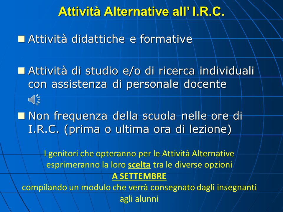 Attività Alternative all' I.R.C.