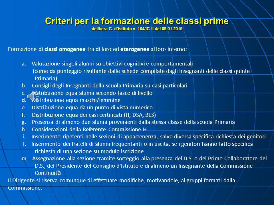 Criteri per la formazione delle classi prime