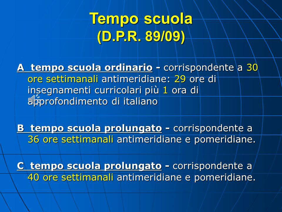 Tempo scuola (D.P.R. 89/09)