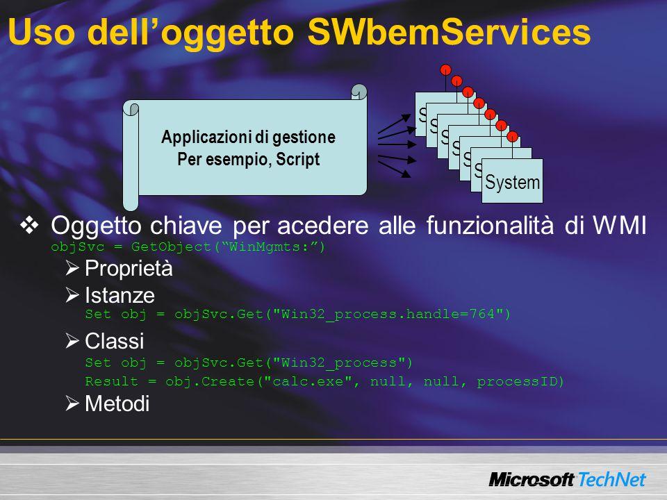 Uso dell'oggetto SWbemServices
