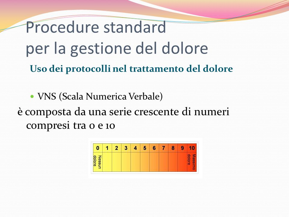 Procedure standard per la gestione del dolore