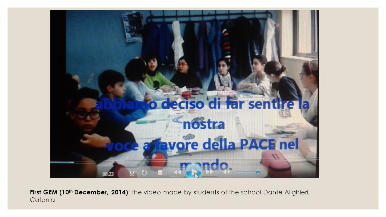 First GEM (10th December, 2014): the video made by students of the school Dante Alighieri, Catania