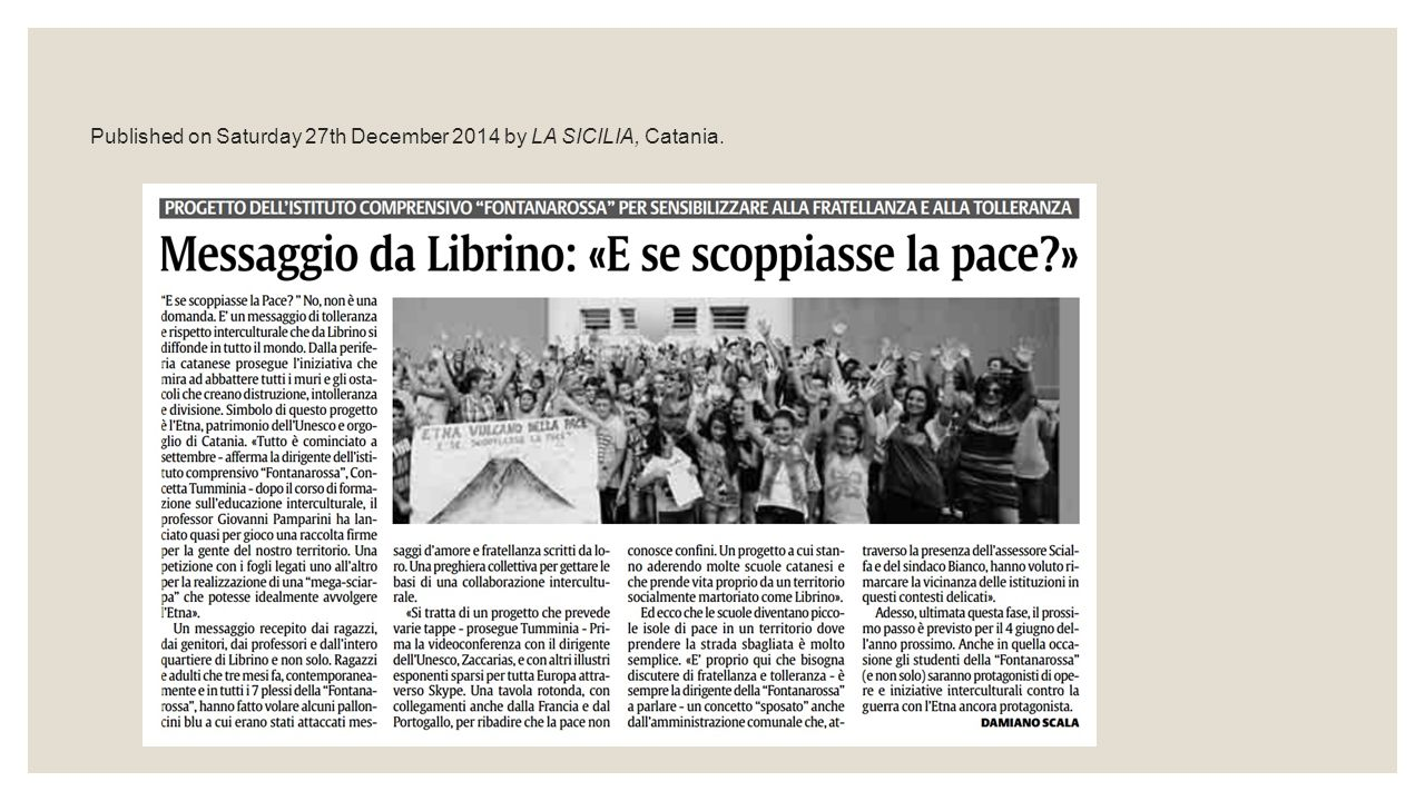Published on Saturday 27th December 2014 by LA SICILIA, Catania.