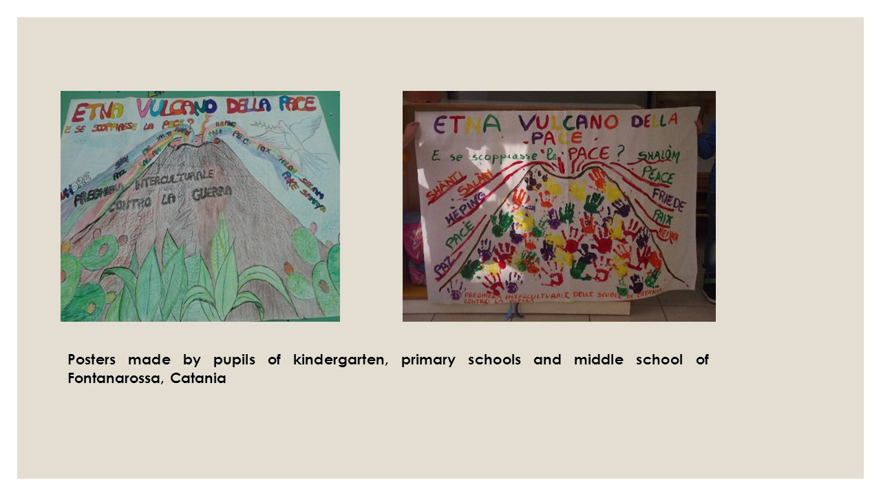 Posters made ​​by pupils of kindergarten, primary schools and middle school of Fontanarossa, Catania