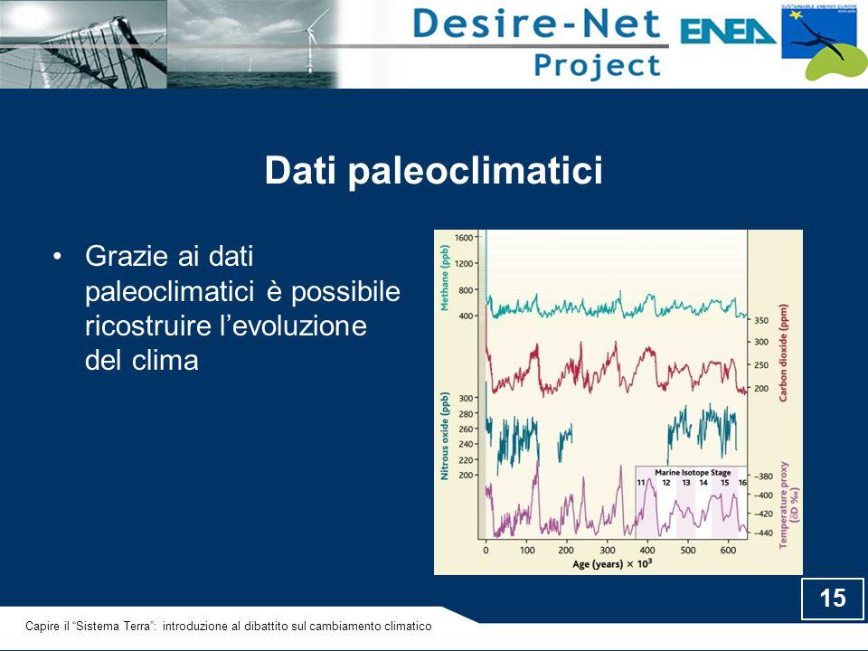 Dati paleoclimatici Grazie ai dati paleoclimatici è possibile ricostruire l'evoluzione del clima.