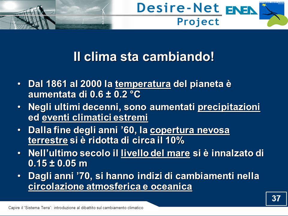 Il clima sta cambiando! Dal 1861 al 2000 la temperatura del pianeta è aumentata di 0.6 ± 0.2 °C.