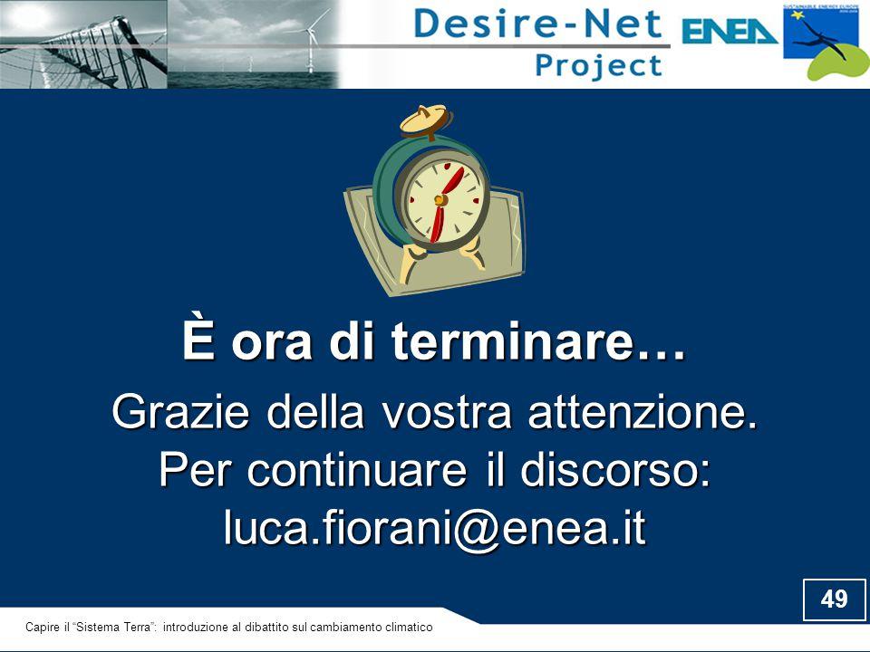 È ora di terminare… Grazie della vostra attenzione. Per continuare il discorso: luca.fiorani@enea.it.