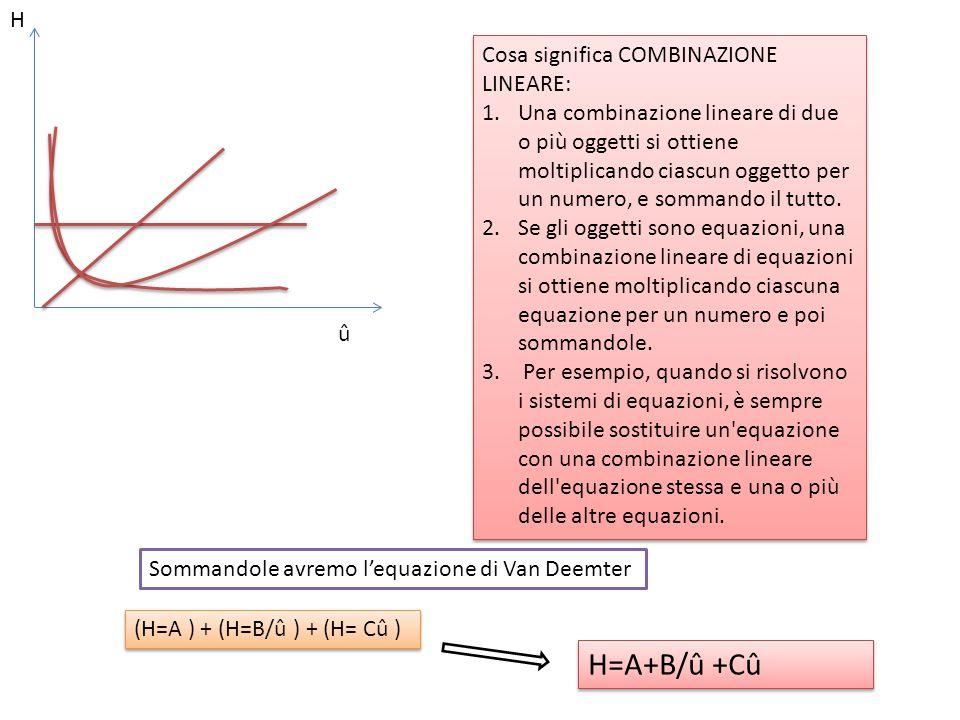 H=A+B/û +Cû H Cosa significa COMBINAZIONE LINEARE: