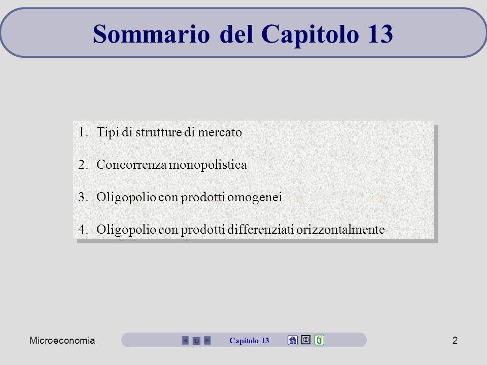 Sommario del Capitolo 13 Tipi di strutture di mercato