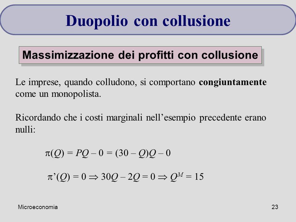 Duopolio con collusione Massimizzazione dei profitti con collusione