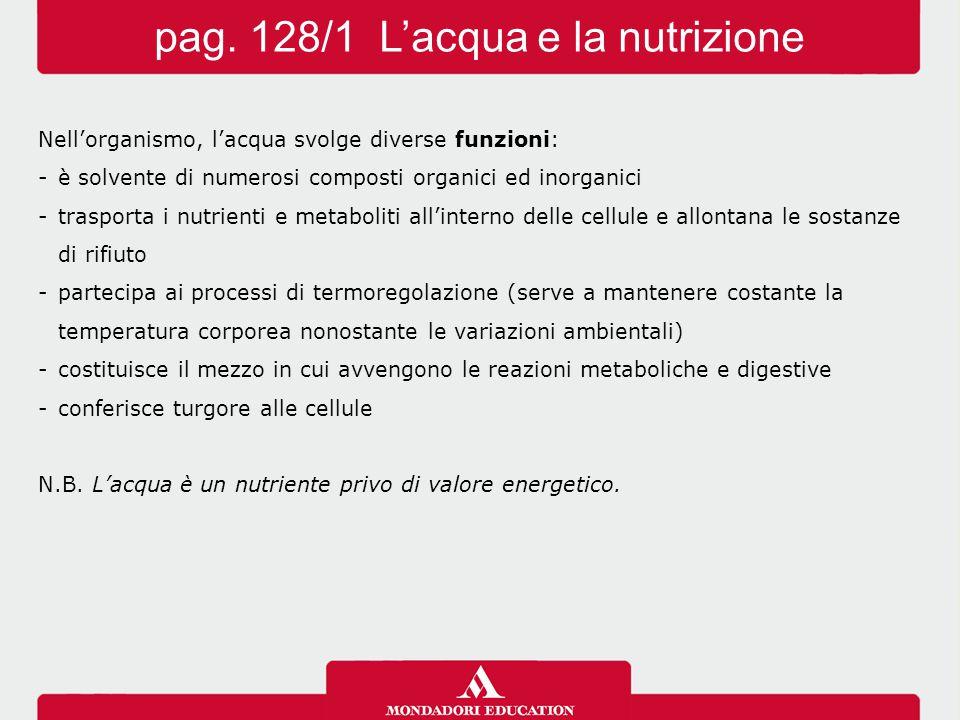 pag. 128/1 L'acqua e la nutrizione
