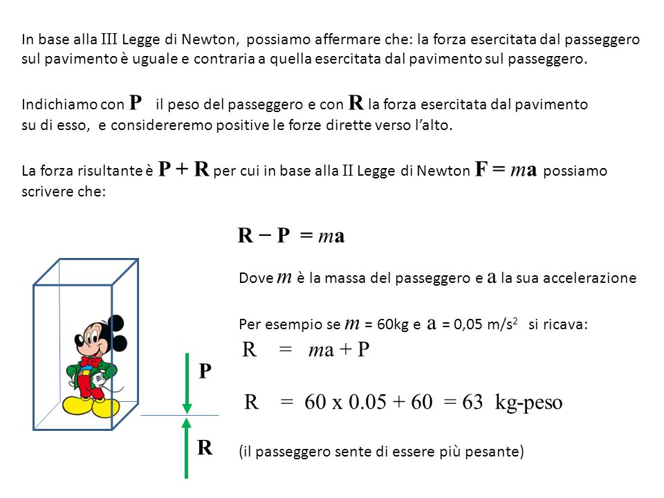 R − P = ma R = 60 x 0.05 + 60 = 63 kg-peso P R