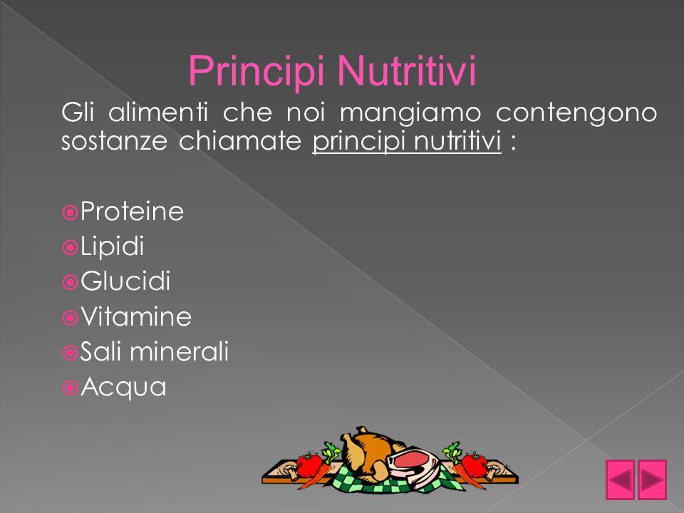 Principi Nutritivi Gli alimenti che noi mangiamo contengono sostanze chiamate principi nutritivi : Proteine.