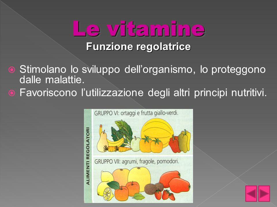 Le vitamine Funzione regolatrice
