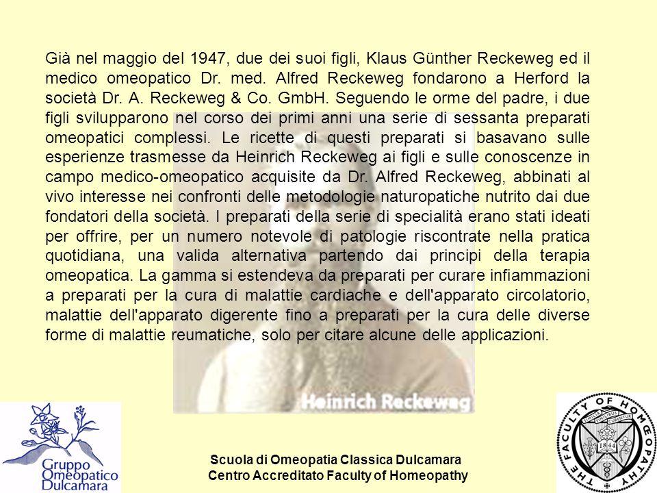 Già nel maggio del 1947, due dei suoi figli, Klaus Günther Reckeweg ed il medico omeopatico Dr. med. Alfred Reckeweg fondarono a Herford la società Dr. A. Reckeweg & Co. GmbH. Seguendo le orme del padre, i due figli svilupparono nel corso dei primi anni una serie di sessanta preparati omeopatici complessi. Le ricette di questi preparati si basavano sulle esperienze trasmesse da Heinrich Reckeweg ai figli e sulle conoscenze in campo medico-omeopatico acquisite da Dr. Alfred Reckeweg, abbinati al vivo interesse nei confronti delle metodologie naturopatiche nutrito dai due fondatori della società. I preparati della serie di specialità erano stati ideati per offrire, per un numero notevole di patologie riscontrate nella pratica quotidiana, una valida alternativa partendo dai principi della terapia omeopatica. La gamma si estendeva da preparati per curare infiammazioni a preparati per la cura di malattie cardiache e dell apparato circolatorio, malattie dell apparato digerente fino a preparati per la cura delle diverse forme di malattie reumatiche, solo per citare alcune delle applicazioni.