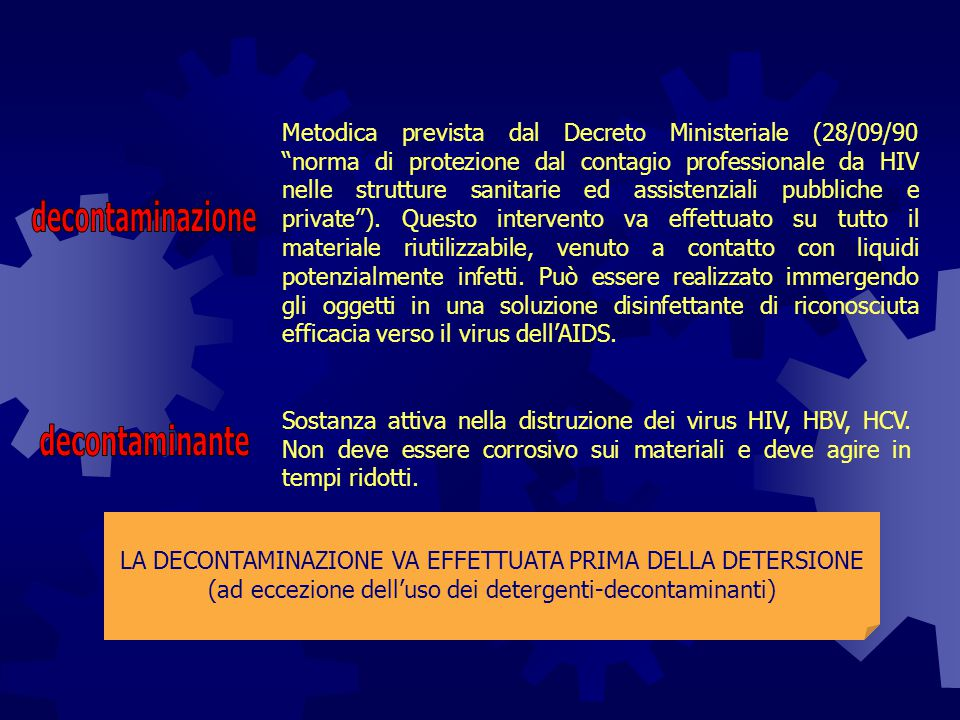 decontaminazione decontaminante