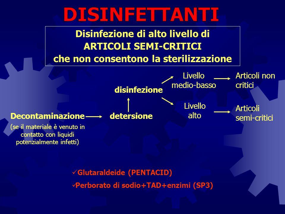 DISINFETTANTI Disinfezione di alto livello di ARTICOLI SEMI-CRITICI