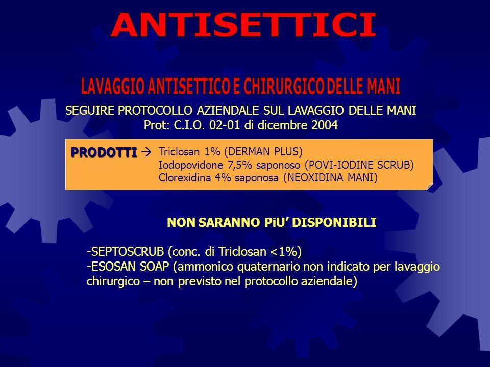 ANTISETTICI LAVAGGIO ANTISETTICO E CHIRURGICO DELLE MANI