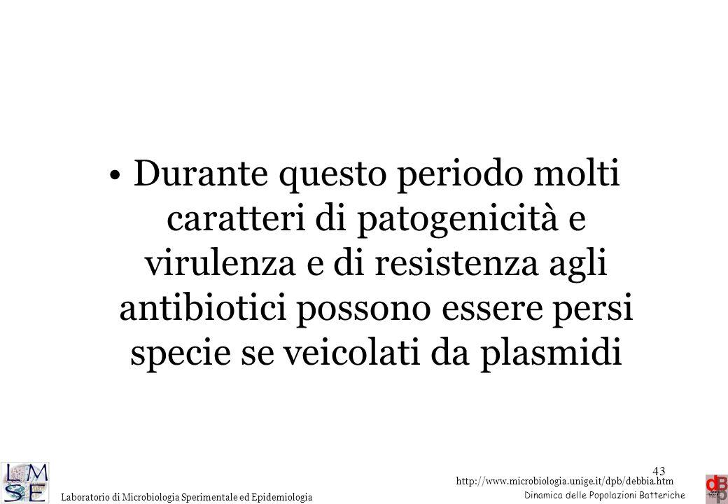 Durante questo periodo molti caratteri di patogenicità e virulenza e di resistenza agli antibiotici possono essere persi specie se veicolati da plasmidi