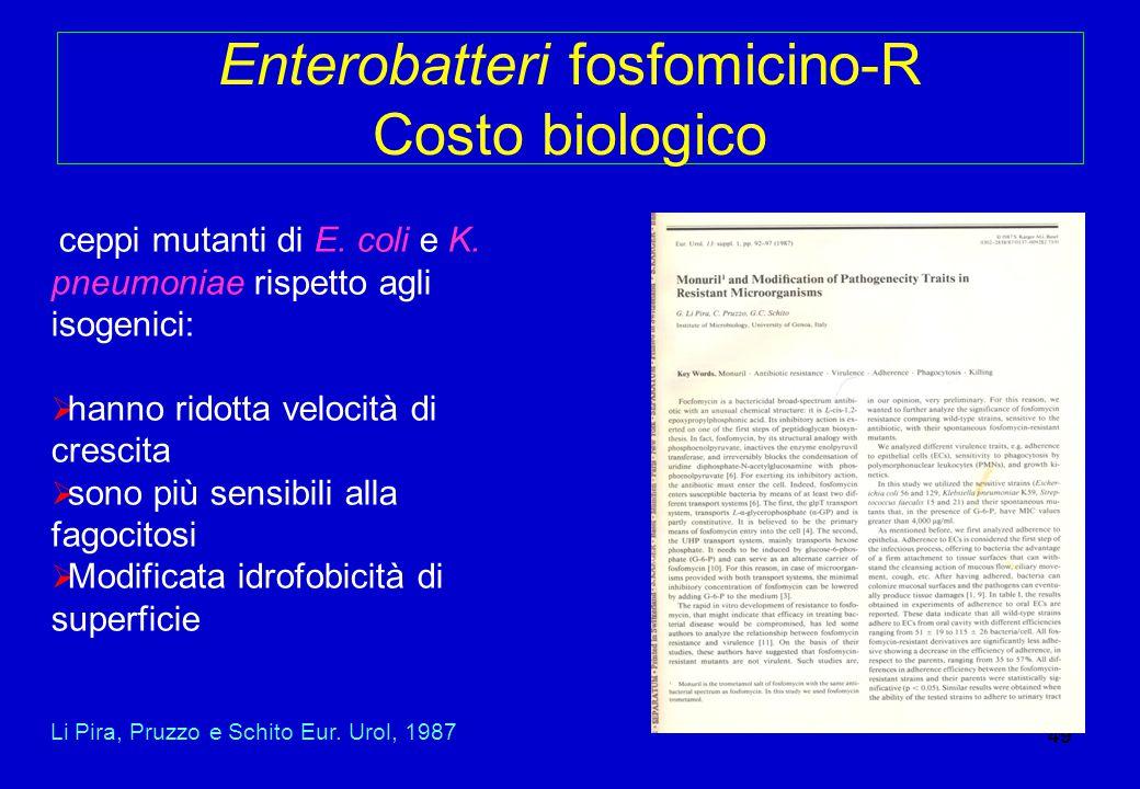 Enterobatteri fosfomicino-R Costo biologico