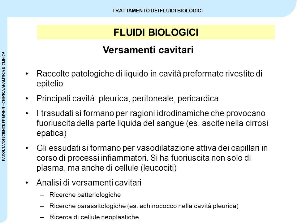 FLUIDI BIOLOGICI Versamenti cavitari