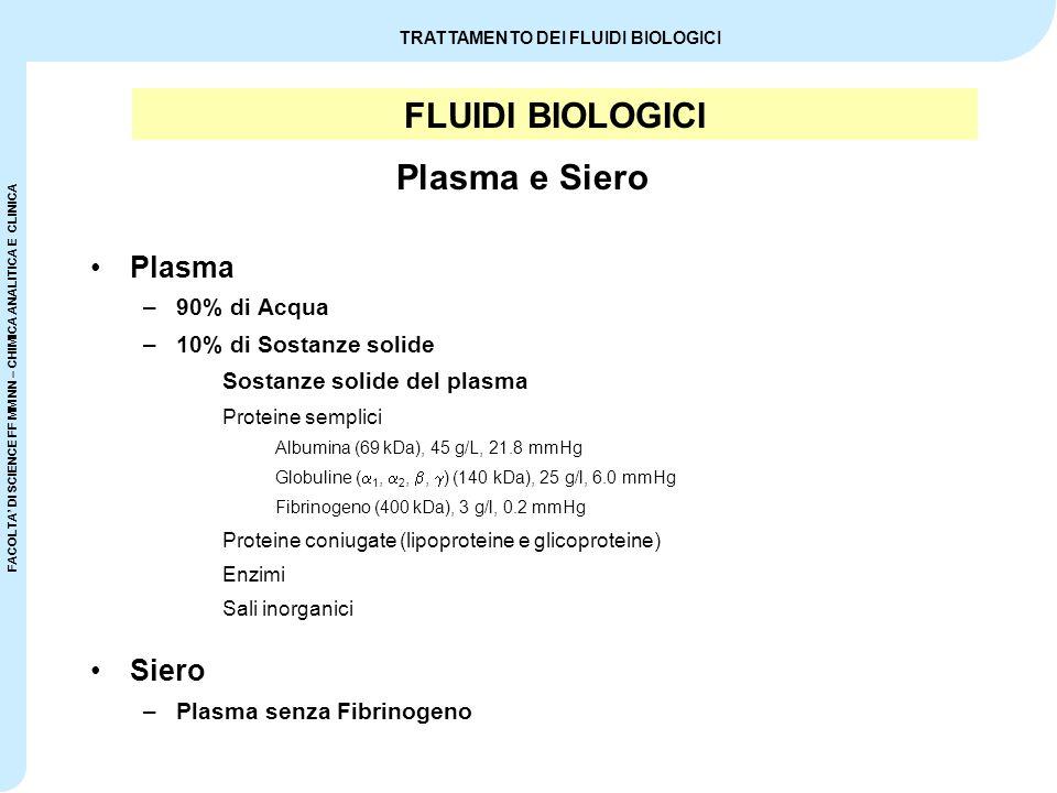 FLUIDI BIOLOGICI Plasma e Siero Plasma Siero 90% di Acqua